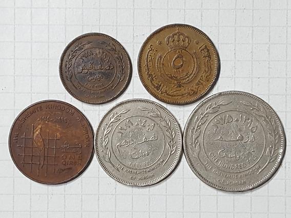 Jordania Colección 5 Monedas Diferentes Lindas Y Escasas