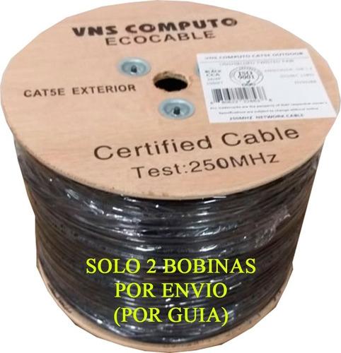 Imagen 1 de 4 de Cable Utp Doble Forro Exterior Cat5e Negro Cal24 305 Mts B03