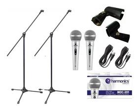 Kit 2 Microfones Prof Mdc201+ 2pedestal +2 Cachimbos+2 Cabos