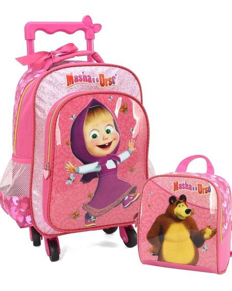 Kit Mochila De Rodinha Infantil Masha E O Urso Rosa Ic33936