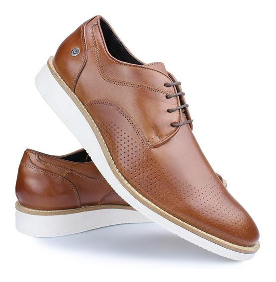 Sapato Casual Oxford Couro Amarração Derby Caramelo Perlatto