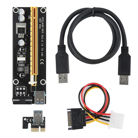 Kit 5 Cabo Riser 60cm Pci Express 1x To 16x Usb 3.0 Cable