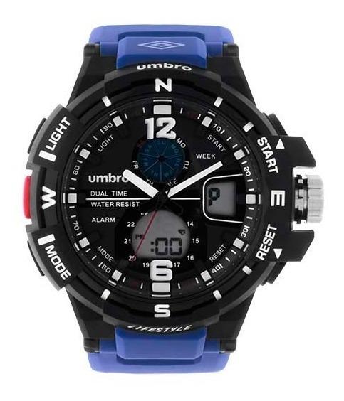 Relógio Masculino Umbro Esportivo Azul E Preto Umb-012-5