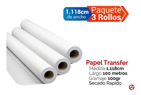 Paquete 3 Rollos Para Sublimación 1.118cm