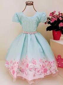 Vestido Frozzen Floral Luxo Infantil Princesas Cod. 1401