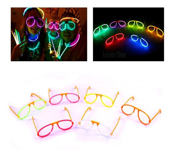 10 Lentes Luminosos Neon Varios Colores Rave Antro Batucada