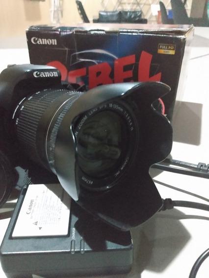 T3i Cannon 18mp Lente 18-135 + 1 Bateria Extra E Polarizador