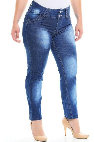 2 Calca Jeans Feminina Plus Size Cintura Alta Lycra Tipo Hot
