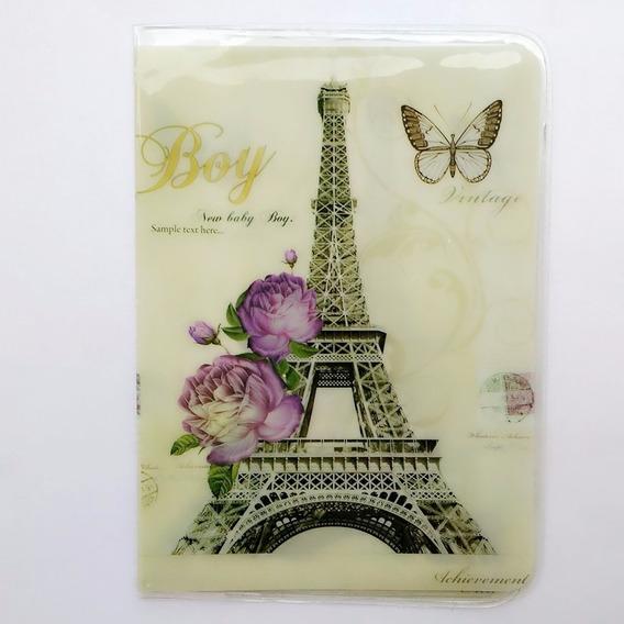 Capa Passaporte França Paris Torre Eiffel Flor Boy Vintage @