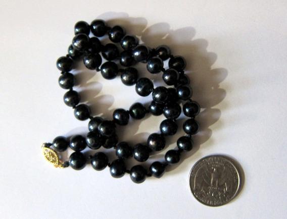 Collar De Perlas Negras Naturales Cultivadas En El Mar