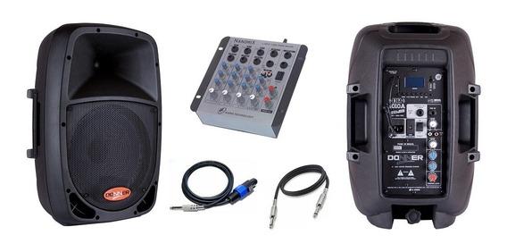 Kit Caixa Ativa Dr1010 + Caixa Passiva + Mesa Som+ Cabos