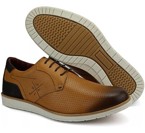 Sapato Oxford Casual Clássico Masculino Em Couro Camurça