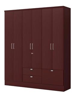 Ropero Closet Bertolini 598 6 Puertas 3 Cajones Caoba