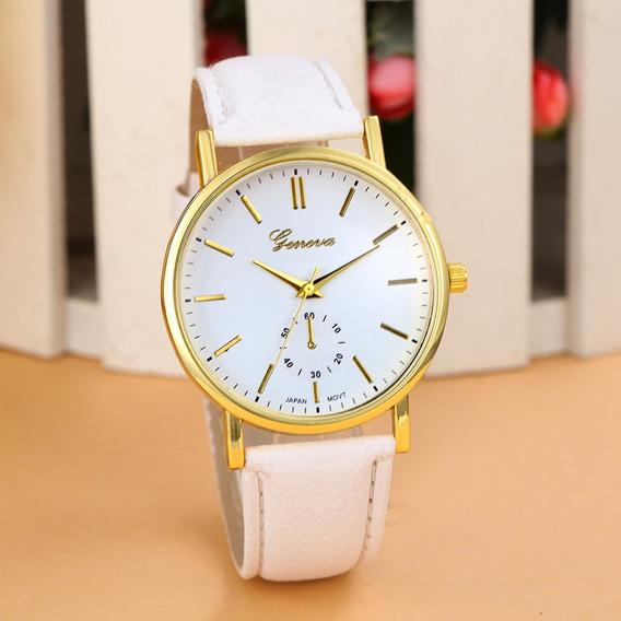 Relógio Feminino Geneva Pulseira De Couro Luxo