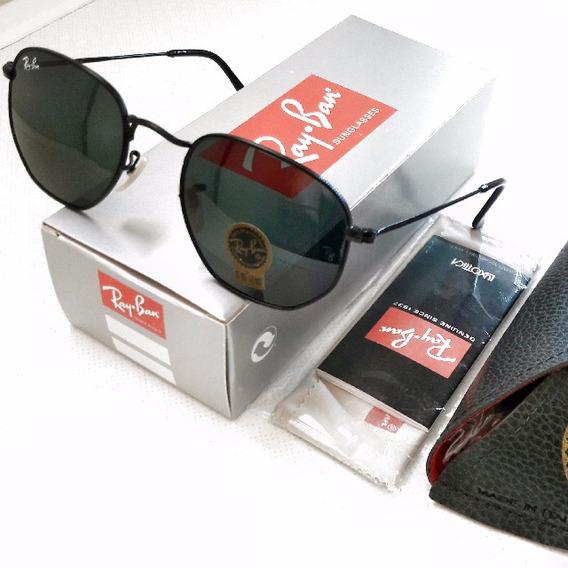 Óculos De Sol Estilo Hexagonal Preto Feminino - Masculino