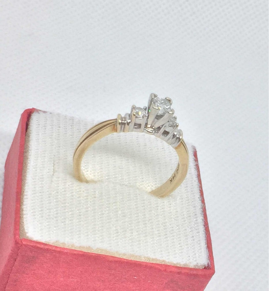 Anillo Oro Amarillo Diamante 14k Compromiso