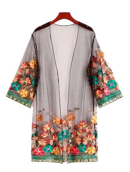 Kimono Shein Bordado Plus Floral Embroidery Talles 2x 3x