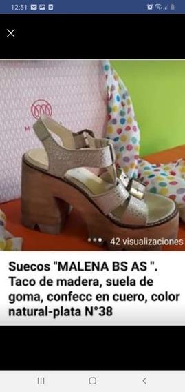 Zueco Malena Bs As Taco De Madera Suela De Goma N 38 Natural