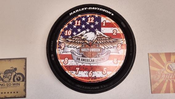Relógio De Parede Artesanal Em Pneu Harley Davidson Company