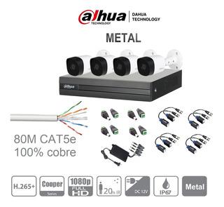 Kit Circuito Cerrado 4 Cámaras Dahua 2mp 1080p Metálicas
