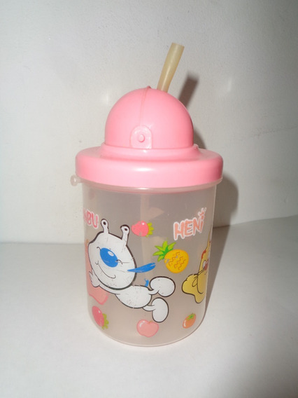 Vaso Plastico Infantil Niño Bebe Con Sorbete Y Tapa Rosa