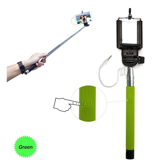 Monopod Selfie Fotografia, Verde (green) iPhone & Android