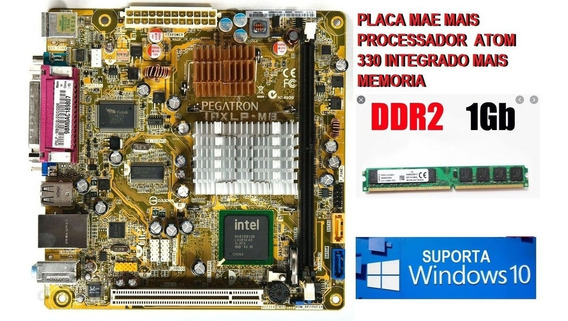 Placa Mãe Ddr2 Pegatron Ipxlp-mb Processador Atom 330+ 1gb