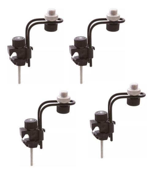 Kit C/ 4 Suporte Para Microfonar Bateria Clamp De Mic Ask
