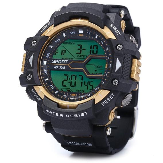 Relógio De Pulso Multifuncional Golden Led Sports Promoção