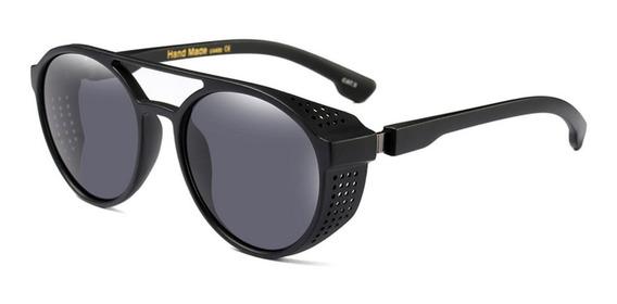 Óculos Masculino Sol Redondo Steampunk Retrô Proteção Latera
