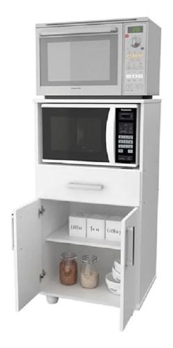 Imagen 1 de 6 de Mueble Organizador Porta Microondas + Grill Premium Blanco