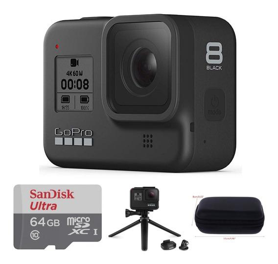 Câmera Gopro Hero 8 Black + Tripé+ Case+ Sd 64gb + Nfe
