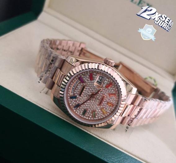 Relógio Mod Day Date Rose Caixa 36mm Dial Pedras 12x S/juros