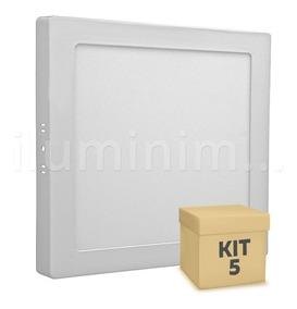Kit 5 Painel Plafon Led 18w Sobrepor Quadrado Branco Frio