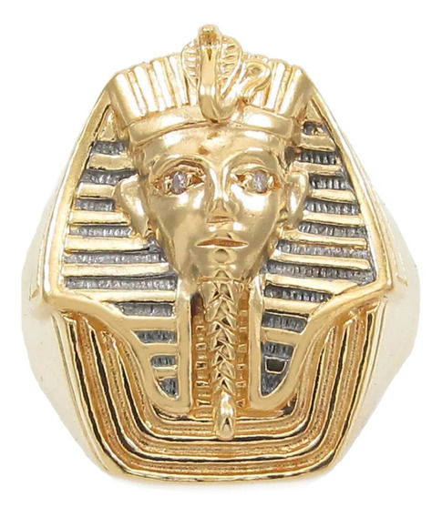 Anel Egípcio Tutankamon Com Diamantes Aro18 Ouro 18k 750.