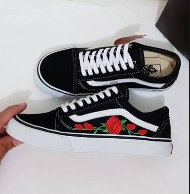 Sapatenis Feminino Vans Old Skool Estampa Rosas Flor Envio24