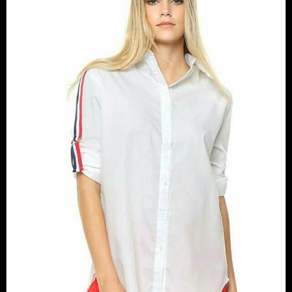 Camisa Mujer Talles Con Franja En Lateral D Mangas Moda!