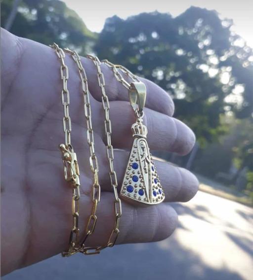 Cordão Banhado A Ouro Cartier Nossa Senhora 70cm 4mm Pedras