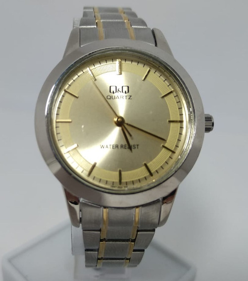 Relógio Q&q By Citizen Prata Fundo Dourado Q947j400y