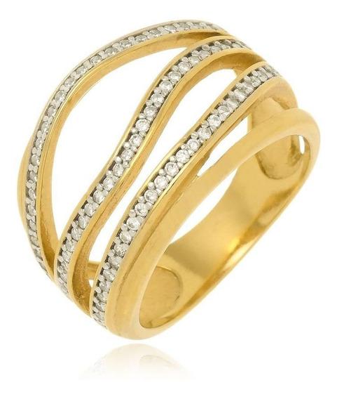 Anel Luxoso Micro Zirconia Banhado A Ouro Sarayevo