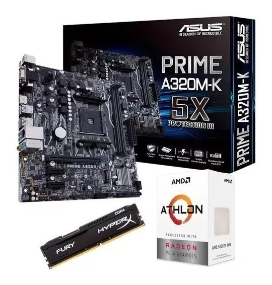 Kit Gamer Asus A320m-k + Athlon 220ge +8gb 2400mhz C/nfe