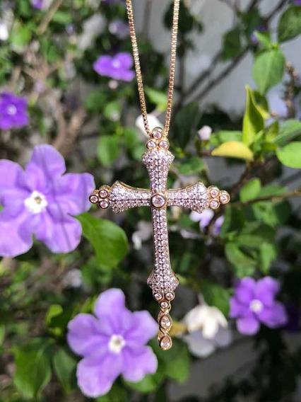 Colar Crucifixo Banhado A Ouro 18k