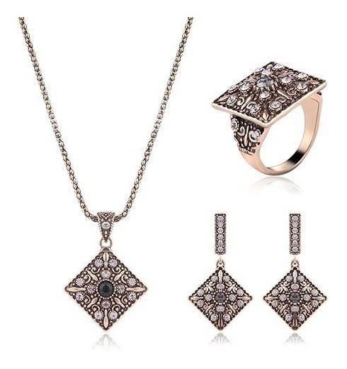 Elegante Set Collar Aretes Y Anillo Dorado Envio Gratis