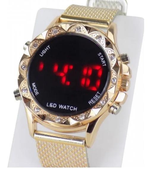 Relógio Feminino De Led Redondo Com Strass Com Calendario