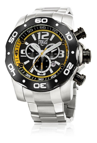 Relógio Pulso Everlast Masculino Cronografo Aço Prata E595