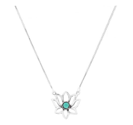 Colar De Prata Shine Flor De Lótus Coleção Quatro Elementos