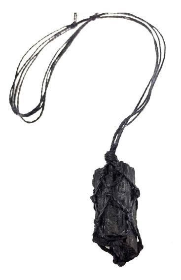 Colar De Pedra Natural Bruta Castroada Turmalina Negra Cristal Da Proteção Tira E Bloqueia Energias Negativas Talismã