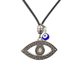 Colar Masculino Couro Olho De Horus Olho Grego Amuleto