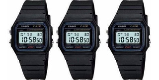 Reloj Deportivo F91w Negro Sencillo Y Elegante