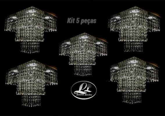 Kit 5 Lustres Cristal Acrílico Montado C/iluminação Grátis
